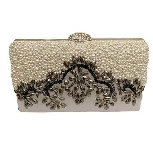 Beaded silver vintage style clutch bag